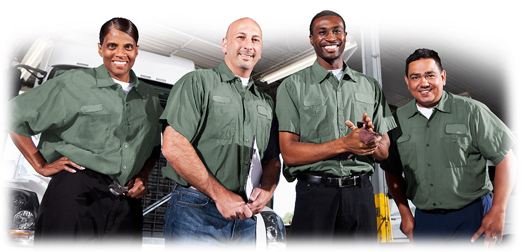 Multiethnic group of happy maintenance workers